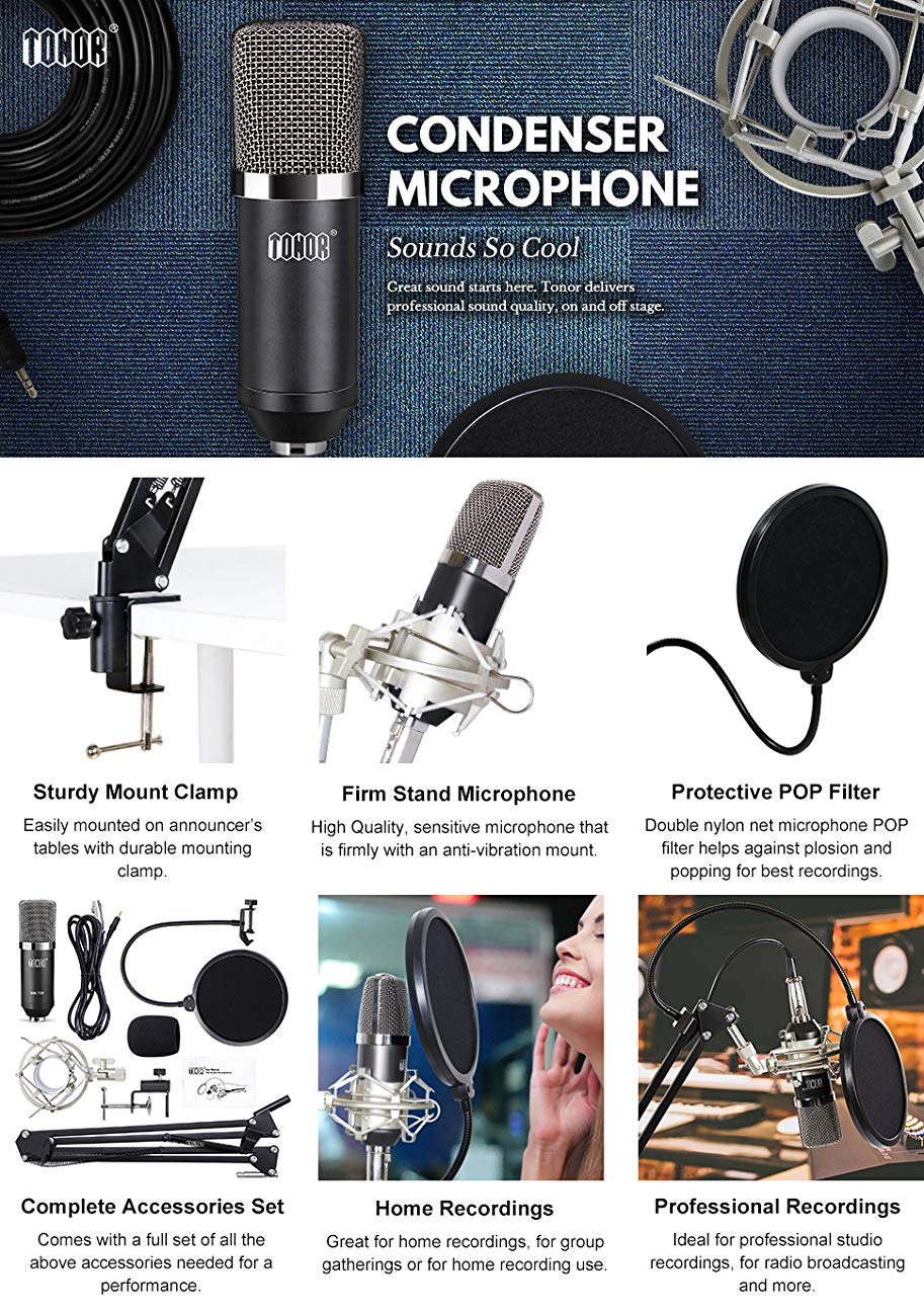 TONOR Professional Studio Condenser Microphone Kit Black