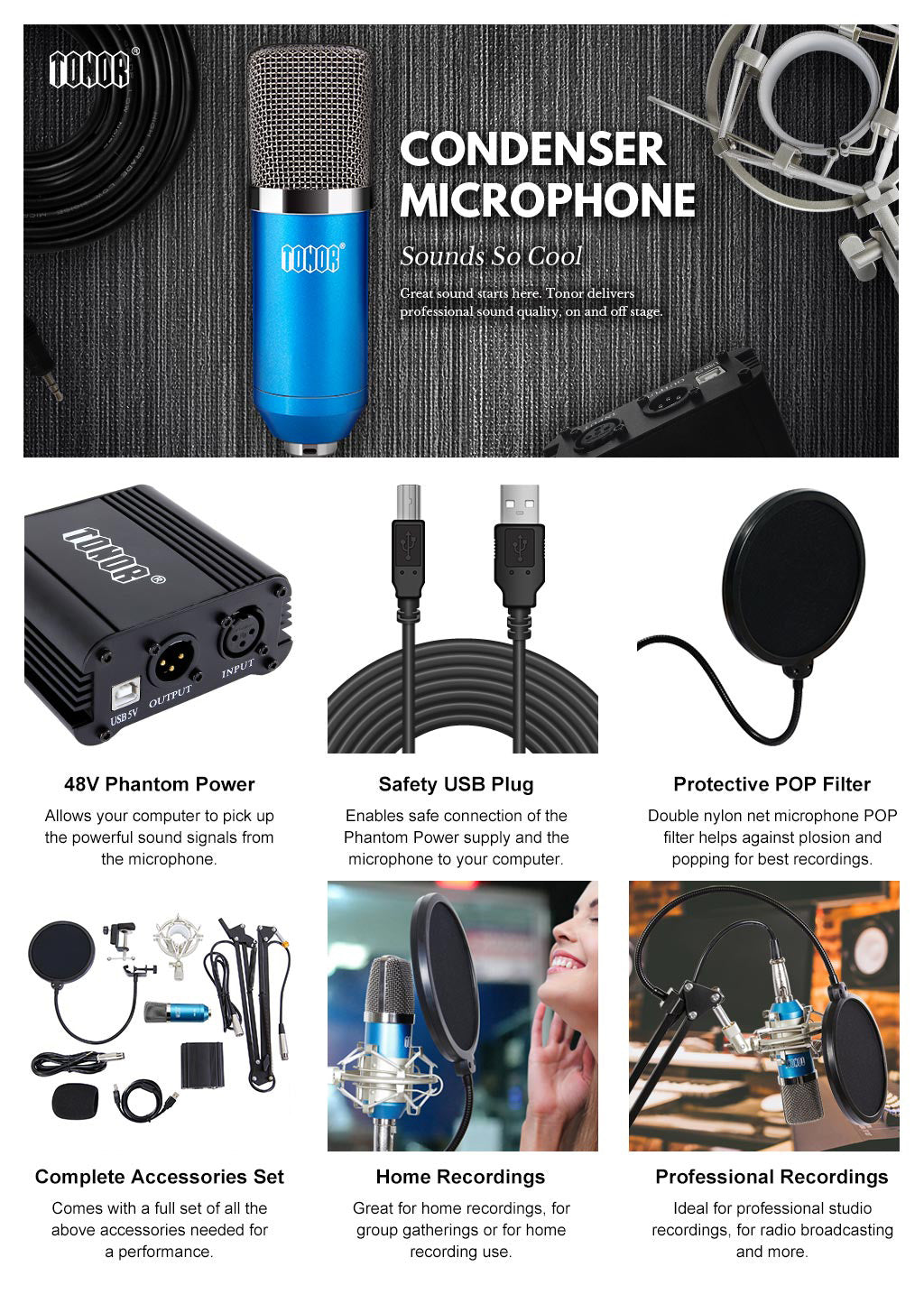 TONOR Pro Recording Condenser Microphone Kit Blue