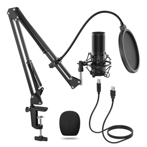 TONOR Q9 USB Computer Condenser Microphone Streaming Podcast PC Gaming Mic with Adjustment Arm Stand Bundle - Black