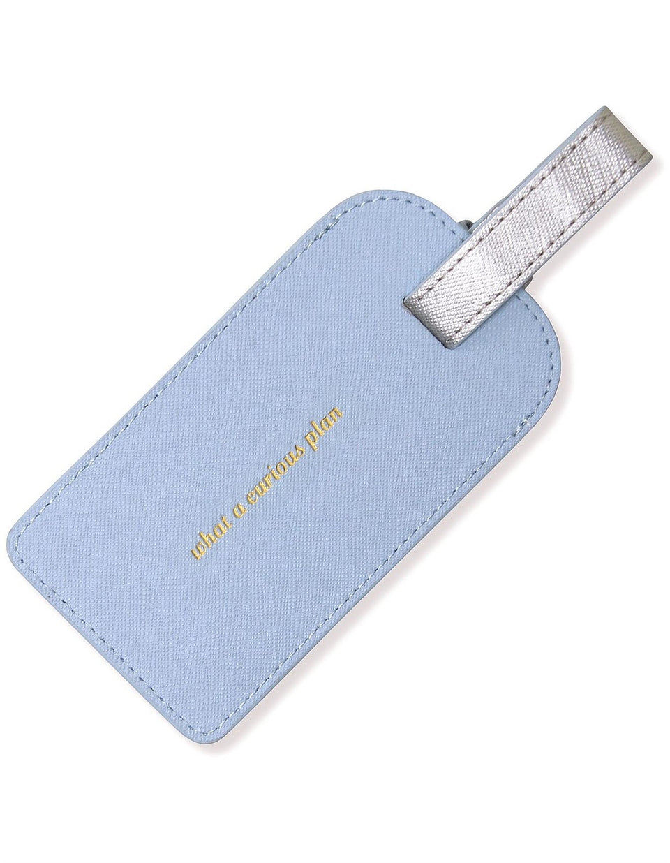 Leather Luggage Tag | Misty Blue & Silver