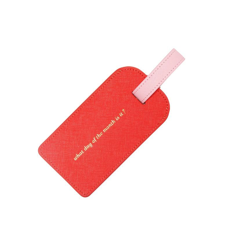 Leather Leather Luggage Tag | Orange & Pink