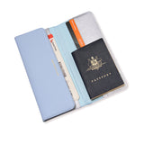Leather Travel Wallet | Misty Blue & Silver