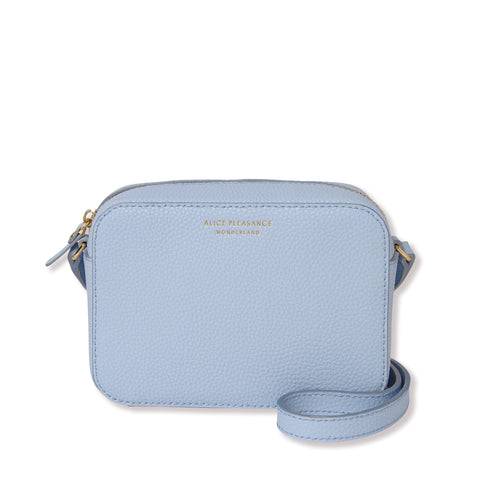 Leather Crossbody Bag | Misty blue & Silver