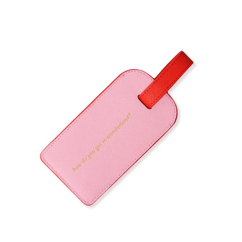 Leather Leather Luggage Tag | Pink & Orange
