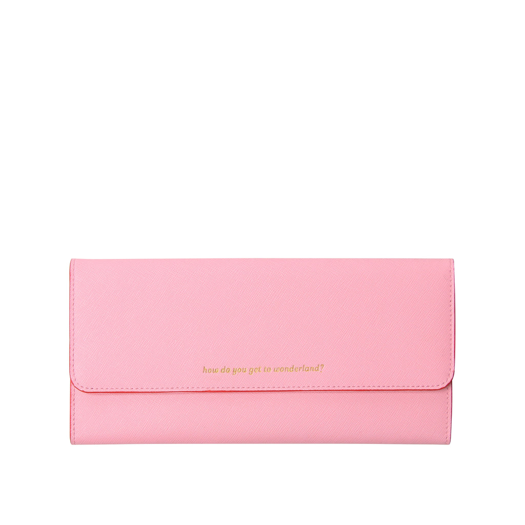Leather Travel Wallet | Pink & Orange