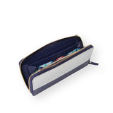 Leather wallet | Navy & Silver