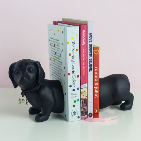 Black Dachshund Bookends