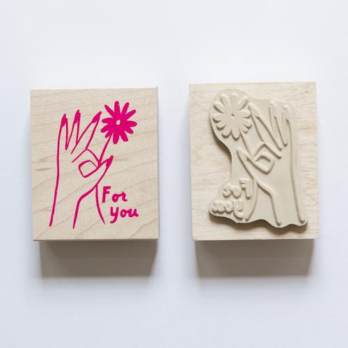 "Hand Flower ""For You"" Stamp"