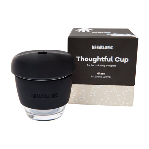 8 oz Glass Coffee Cup | Black