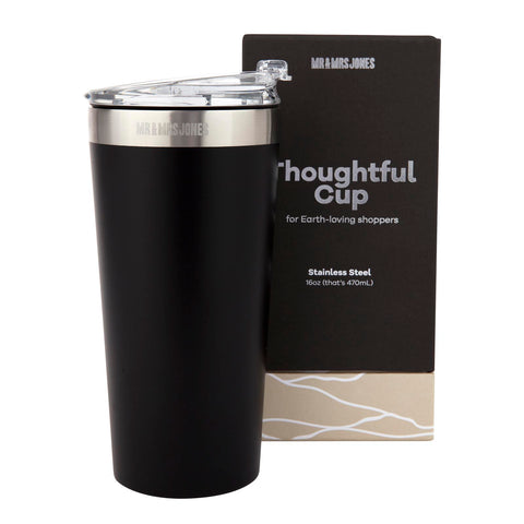 Coffee Cup Steel 16 oz Black