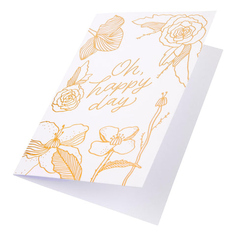 Card Floral Foil Oh Happy Day