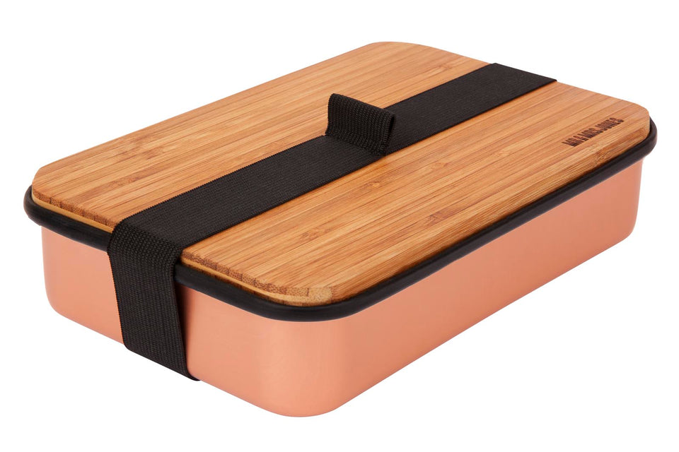 Lunch Box Aluminium and Bamboo (assorted colours)