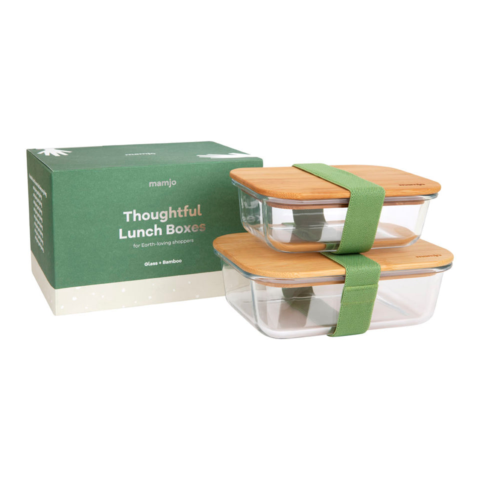 Thoughtful Glass and Bamboo Lunch Box | Set of 2