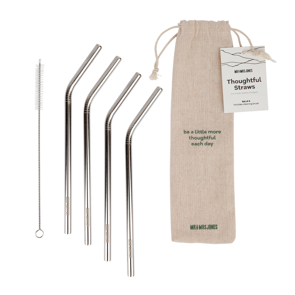 Metal Straw 4 Pack with Hessian Bag and Brush