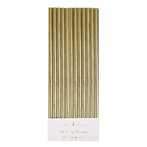 Gold Foil Straws 24 Set