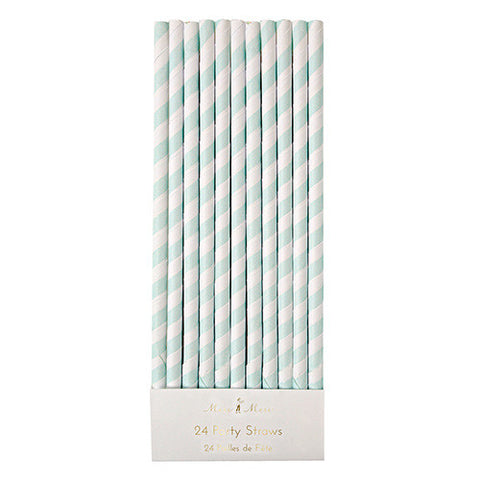 Mint Stripped Straws 24 set