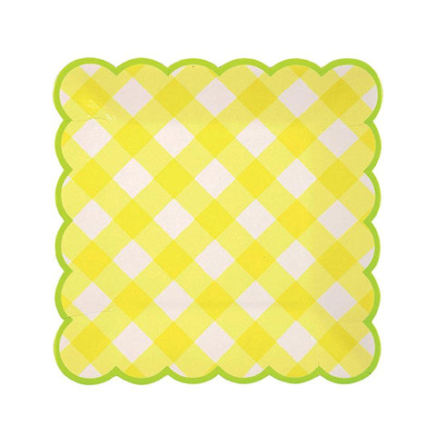 Yellow Gingham Plate Sm 12Set