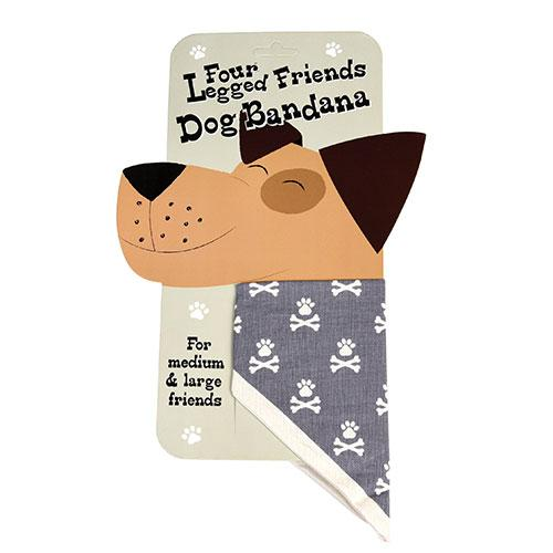 Large Dog Bandana - Grey Paw