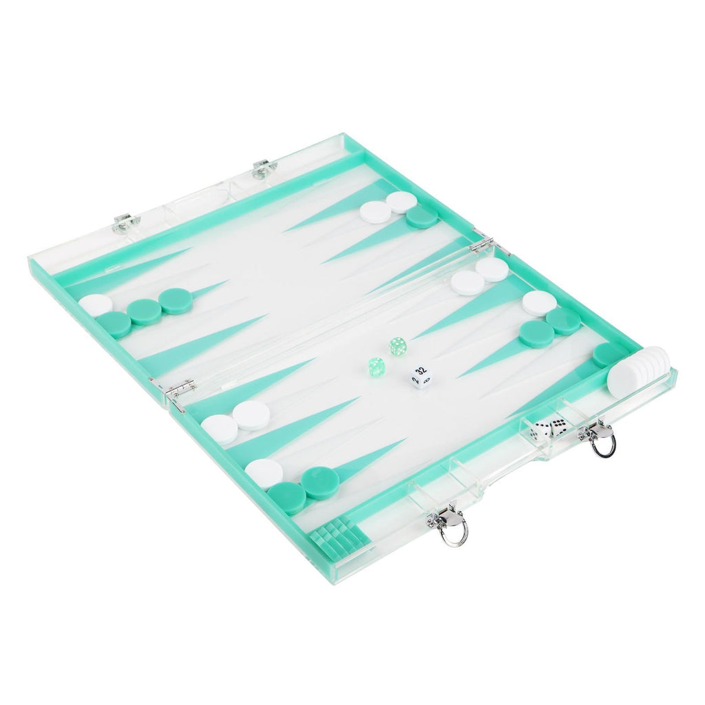 Backgammon Lucite Neon Turquoise & White
