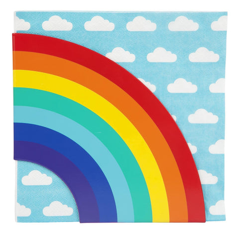 Napkins & Holder Rainbow