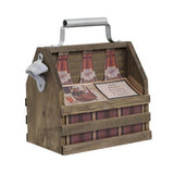 Bottle Caddy Wood with Opener