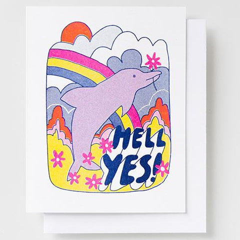 Riso Card - Hell Yes Dolphin