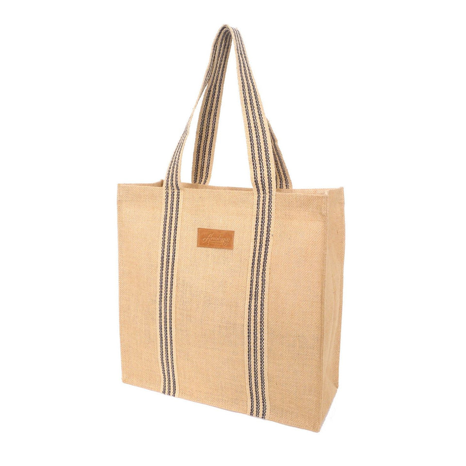 Coated Jute Grocery Tote Bag | Black Stripe