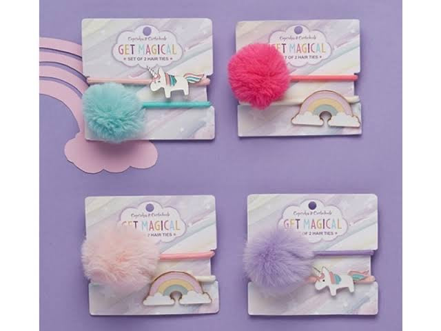 Unicorn Hair Ties 2 Set Asst