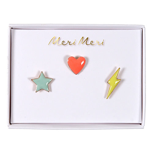 Star, Heart, Flash Enamel Pins