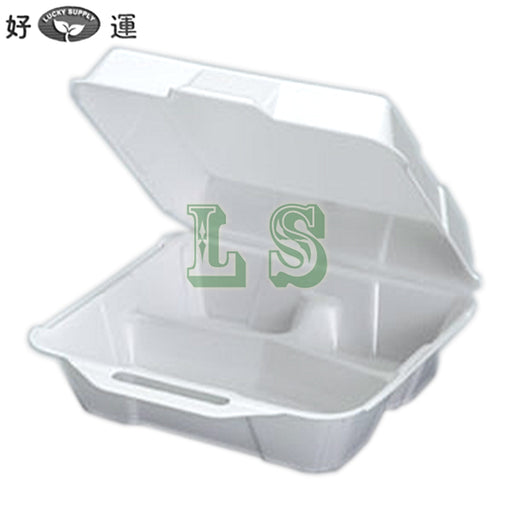 23300 Medium Hi-Volume 3 Compartment Foam Hinged Dinner Container (200's)