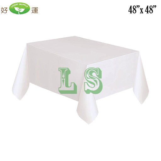 "48""x48"" White Plastic Tablecloth (200's)"