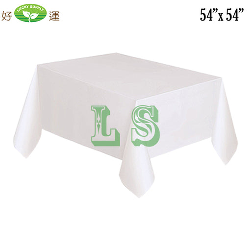 "54""x54"" White Plastic Tablecloth (200's)"