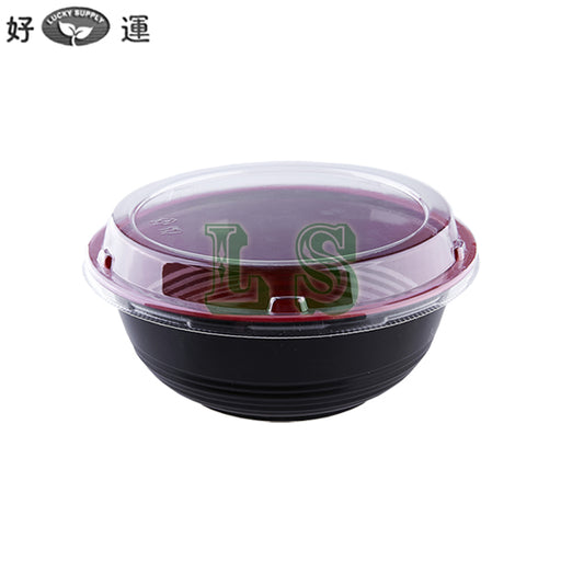 550mL Black/Red Donburi Bowl w/ Lid (500Set)