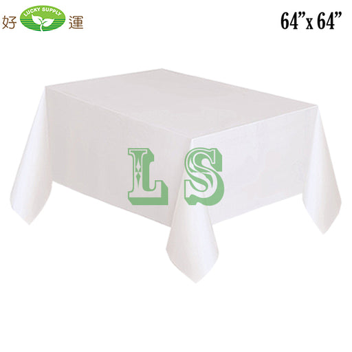 "64""x64"" White Plastic Tablecloth (200's)"