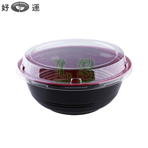 700mL Black/Red Donburi Bowl w/ Lid (400Set)