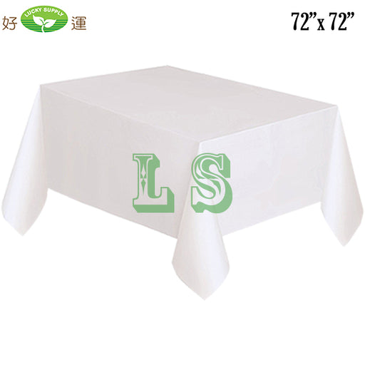 "72""x72"" White Plastic Tablecloth (100's)"