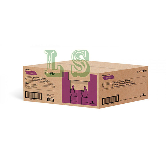 H125, Cascades PRO Select™ Natural Multifold Paper Towel (16x250's)