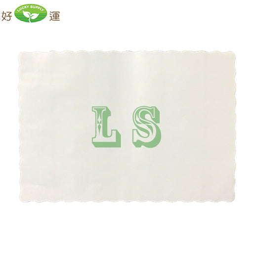 White Placemat with Scalloped Edge 9.5x13.5 (1000's)  #4553