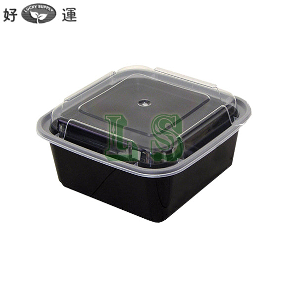 Newspring NC-636-B 36oz. Black Square Microwavable Container with Lid - 150/Case #3104