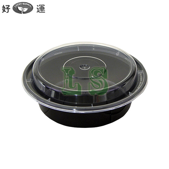 "Newspring NC-718-B 16oz. Black 6"" Round Microwavable Container with Lid - 150/Case  #3101"
