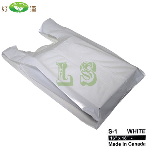 S-1 White T-Shirt Bag 16'x18' 25LB/CS  #4272