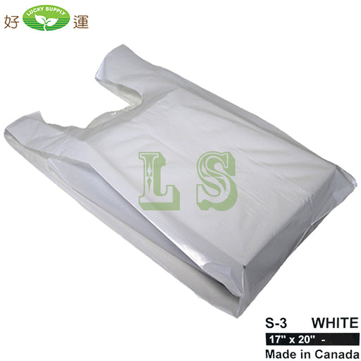 S-3 White T-Shirt Bag 17'x20' 16LB/CS  #4274