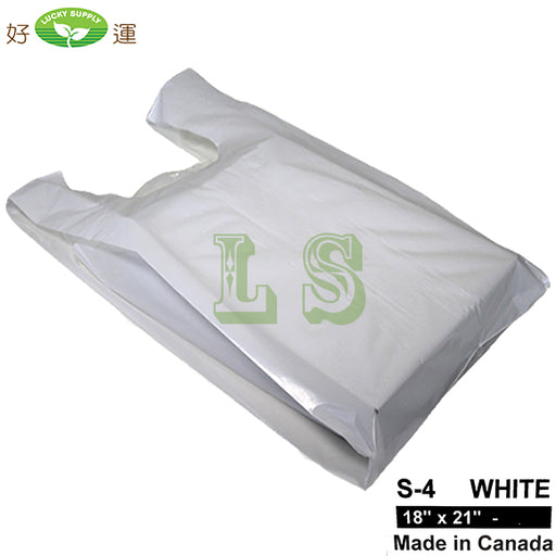 S-4 White T-Shirt Bag 18'x21' 17LB/CS  #4275