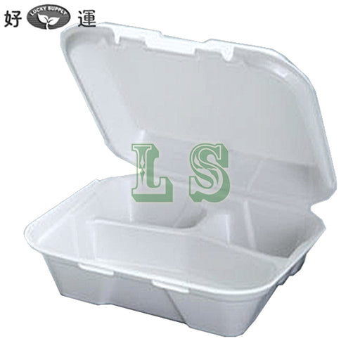 Genpak SN223 Small 3 Compartment Snap It Foam Hinged Dinner Container (200's)  #3211