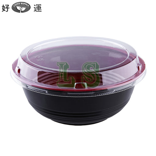 1000mL Black/Red Donburi Bowl w/ Lid (300Set)