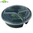 "JR-348 48 oz. Black 9"" Round 3-Compartment Microwavable Container with Lid - 150/Case"