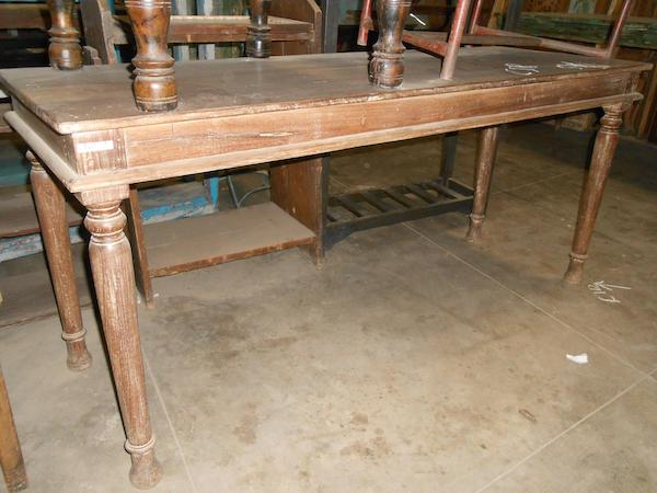 Antique Teakwood Desk/Dining Table with Original Time Worn Patina