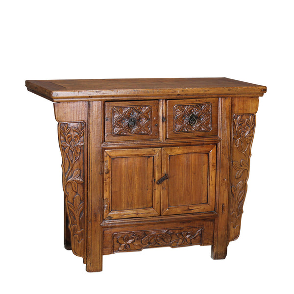 Antique Elmwood Cabinet with Original Hand Carved Detail