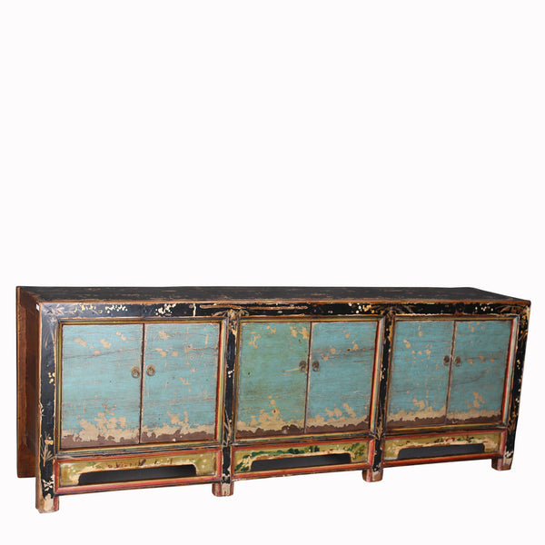 Antique Buffet Cabinet with Distressed Paint Patina