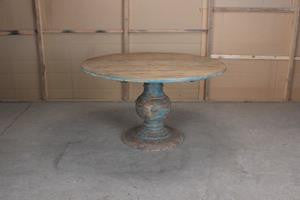 Hand Crafted Reclaimed Wood Round Dining Table with Turned Base